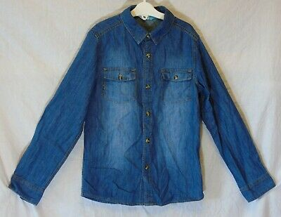 Boys John Lewis Blue Denim Casual Long Sleeve Shirt Age 10 Years