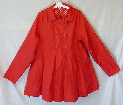 Girls George Red Pleated Satin Lined Swing Style Trench Coat Age 11-12 Years