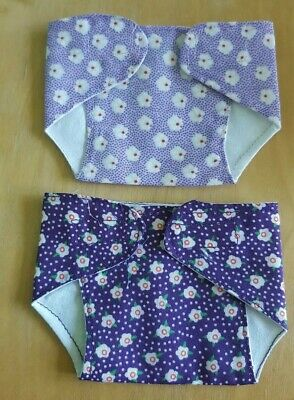 Set of 2 Fabric Nappies for 10-12 inch Baby Dolls/ Reborn  (29)