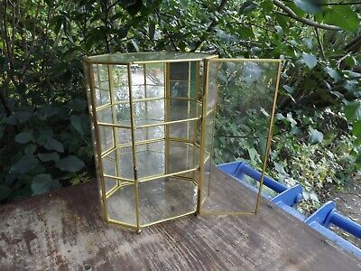 Small Glass Mirror Backed Display Cabinet with 3 shelves and opening door