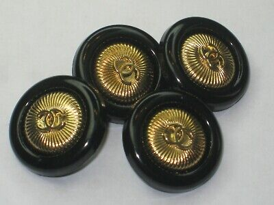 💋💋💋💋💋 Chanel 4 buttons  18mm lot of 4  black gold CC free shipping