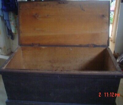 Antique Victorian PINE Blanket CHEST / TRUNK, Coffee Table WOODEN Storage Box