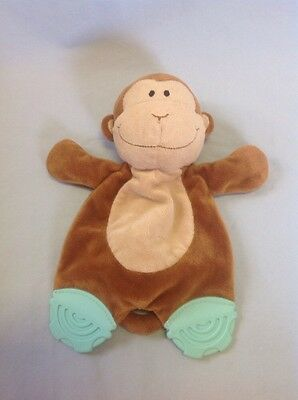 Koala Baby Brown Tan Monkey Security Blanket Teether Rattle Baby Toy Plush Head