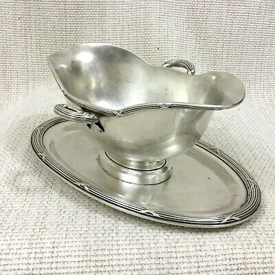 Antique Christofle Silver Plated Sauce Boat Stand Gravy Jug Underplate RUBANS