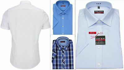Mens Shirt Marvelis Slim Fitted Body Fit Non Iron 100% Cotton Short Sleeve
