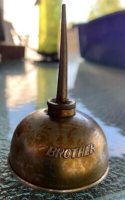 """Antique Vintage Brother Sewing Machine Oiler Small Tin Oil Can Embossed 3"""""""