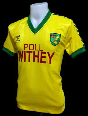 Norwich City 1984 Home Poll Withey Retro Football Shirt Size L 42-44""
