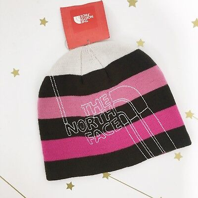 NWT North Face Beanie One Size Brown Pink White Striped Embroidered Logo Hat