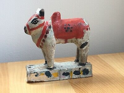 An Indian Sacred Cow. Handcarved And Painted Wooden Figure.