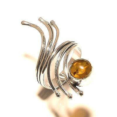 Amazing Ring Silver Plated Amber Gemstone Handmade Best Price jewelry