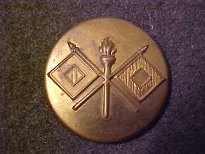 Old Post Ww2 Us Army Signal Corps Pressed Brass Rolled Edge Collar Disk
