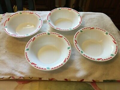 """4 Corelle Fiesta Hot Chili Red Green Peppers Rim 6.25"""" Salsa/Cereal/Soup Bowls"""