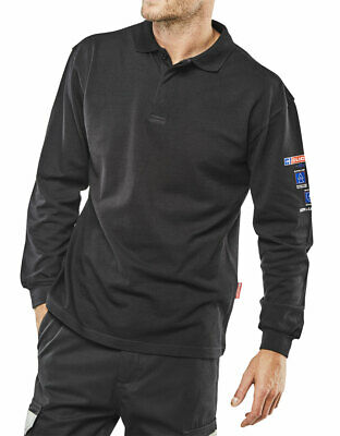 Arc Flash Flame Resistant Polo Shirt Navy Blue For Welding