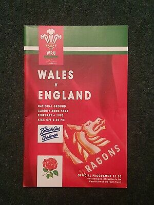 Rugby Programme Wales v England 1992