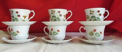 Lot Vintage James Kent Old Foley Strawberries & Butterflies 6 Cup & Saucer Sets