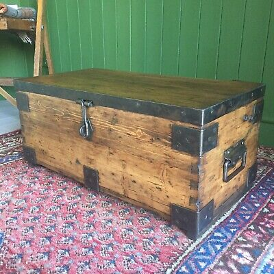 Reclaimed VINTAGE Wooden CHEST Old Military TRUNK Rustic Industrial Storage BOX