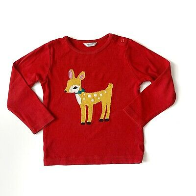 Mini Boden Girls 2-3 2T 3T Tee Deer Appliqué Solid Red Long Sleeve Holiday