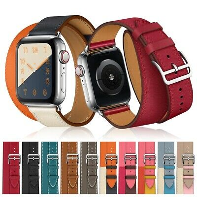 Genuine Leather Watch Band Double Tour For Apple Watch Series 5/4/3/2 38mm 42mm
