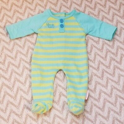American Girl Doll Bitty Baby Retired Blue & Green Striped Baby Sleeper Outfit