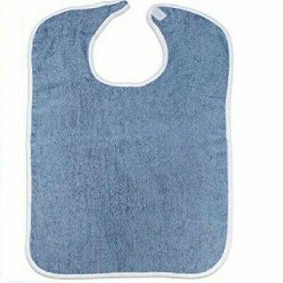 1 PACK adult terry cloth bib w/ easy fast closures blue jumbo 18x30 100% cotton