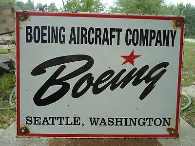Old Boeing Aircraft Co. Airport Aviation Porcelain Gas Pump Sign Airplane