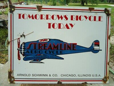 Old Streamline Aero Cycle Aviation Porcelain Gas Pump Sign Airplane Illinois