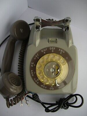 Rare 1962 Gpo 706 Rotary Dial Telephone With Priority Button & Bracket