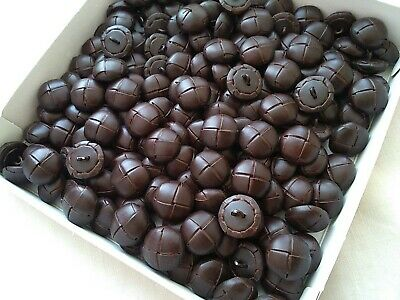 """19//32/"""" BUTTONS DARK BROWN FOOTBALL// LEATHER EFFECT X 5 BUTTON- 15MM 1/"""" - 25MM"""