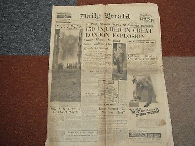 Old newspaper The Daily Herald Saturday 5th August 1939  150 injured in blast