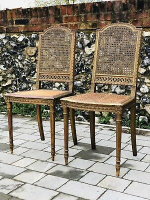 Pair Antique French Chair Bedroom Dining Side Neoclassical Gilt Bergere