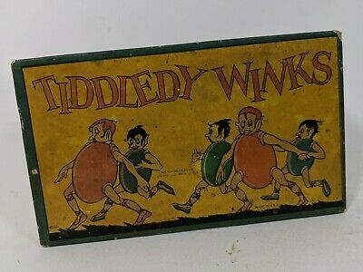 Antique Vintage Tiddledy Winks Game with Original Box