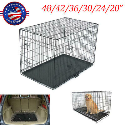 48/42/36/30/24/20 inch 2Door Pet Cage Folding Dog Cat Crate Cage Kennel w/ Tray