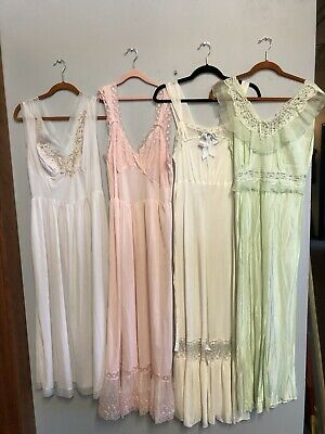 One Lot of Four Vintage 1950s Lingerie Nightgowns Slips Mid Century Modern