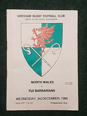 Rugby Programme. North Wales v Fiji Barbarians 1986