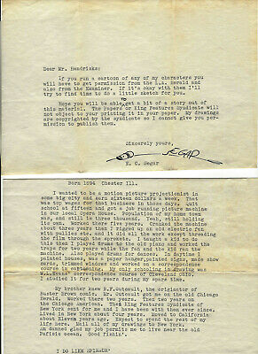 """15. Typed Signed Letter By E.c. Segar """"Popeye"""" Creator, Typed Bio In His Words"""