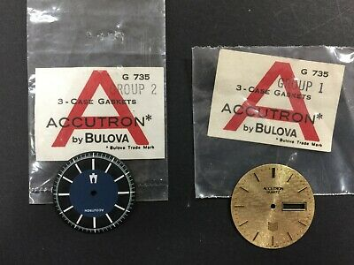 Two Vintage Bulova Accutron Watch Faces in Original Packaging (unsealed)