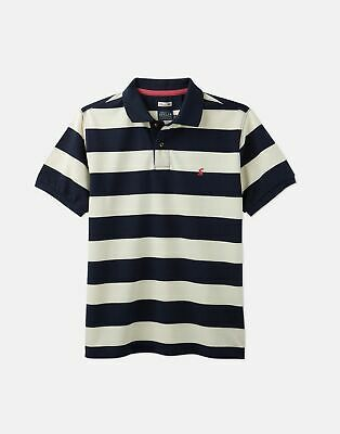 Joules 204564 Striped Pique Polo in CREAM NAVY Size XL