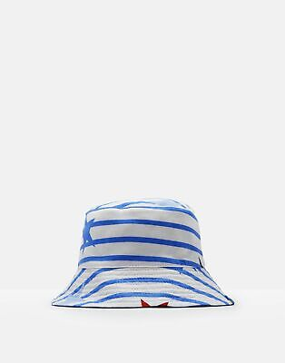 Joules Baby Brit Reversible Bucket Hat in WHITE JUMBO STAR STRIPE Size 1yrin2yr