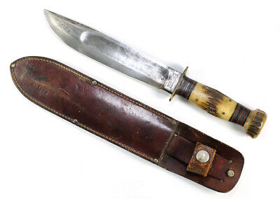 """Rare WWII Marble's Ideal Fighting Knife Stag Handle & Pommel w/ Orig. Sheath 12"""""""