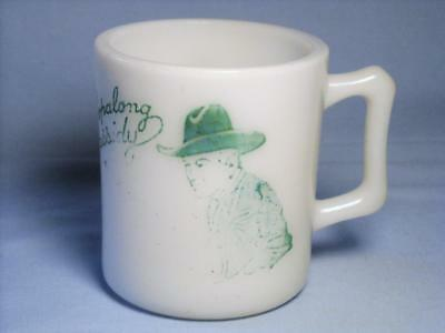 Vintage 1950's HOPALONG CASSIDY Green on Milk Glass Coffee Cup Mug