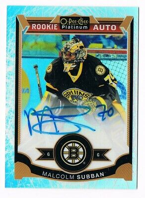 2015-16 O-Pee-Chee OPC Platinum Rookie White Ice Autograph Malcolm Subban 62/99