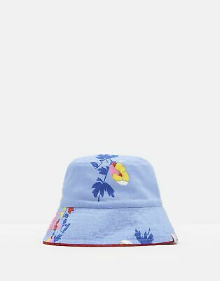 Joules Girls Sunseeker Reversible Hat in BLUE BOTANICAL BUNCH Size 8yrin12yr