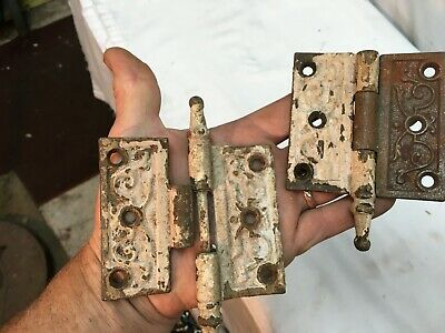 Pair Victorian Antique Cast Iron Ornate Steeple Tip Door Hinges 3 x 3 Parts