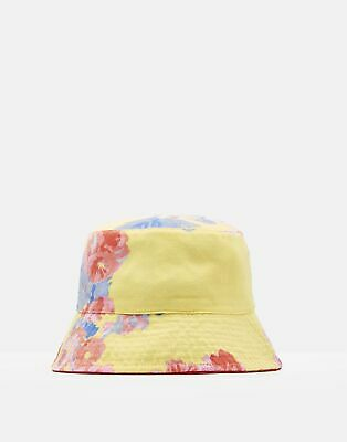 Joules Girls Sunseeker Reversible Hat in YELLOW FLORAL Size 8yrin12yr