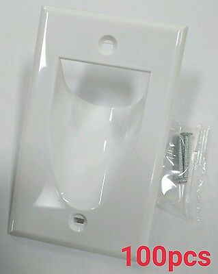 100 x 1-Gang Recessed Low Voltage Cable Wall Plate - White
