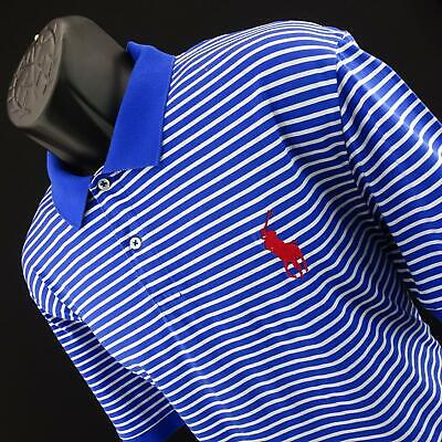 Mens Polo Ralph Lauren Pro Fit Blue Striped Big Red Pony Golf Polo Shirt Size XL
