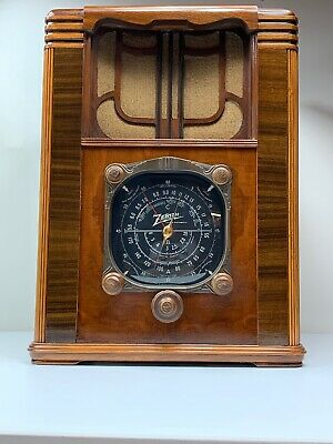 Antique~1937~Zenith~6B129 Tombstone Long Distance Tube Radio~RESTORED!