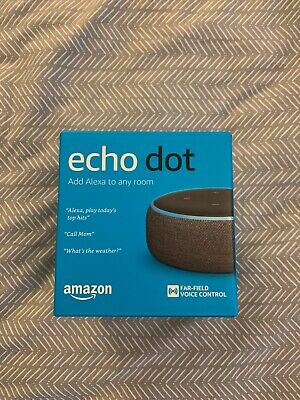 Amazon Echo Dot (3rd Gen) - Charcoal - Set of 2 - 1 New in Box / 1 Used