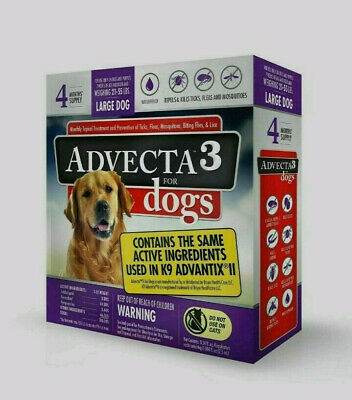 ADVECTA 3 FOR LARGE DOG ( 21- 55 lbs ) FLEA & TICK TOPICAL TREATMENT ( 4 MONTHS