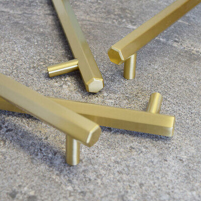 Modern Solid Brass Gold Hexagonal Door, Cabinet and Drawer Bar Handles Pulls